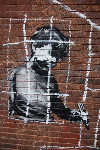 Banksy in Boston: Detail of the NO LOITRIN piece on Essex St in Central Square, Cambridge | by Chris Devers
