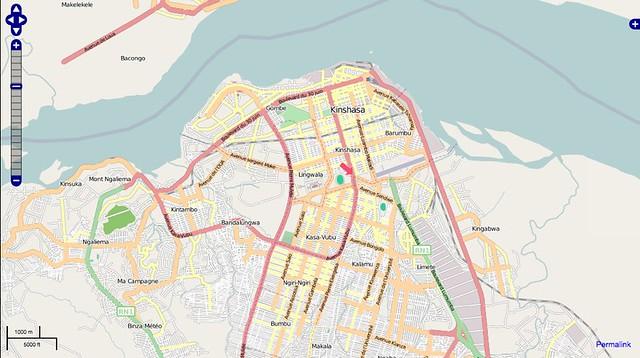 Kinshasa on Open Street Map   Development Seed   Flickr on abidjan map, brazzaville map, dar es salaam, mogadishu map, timbuktu map, kigali map, cape town, africa map, nairobi map, cape town map, praia map, cairo map, yaounde map, congo river, freetown map, luanda map, leopoldville map, kuala lumpur map, maputo map, malabo map, congo map, addis ababa, kampala map, lagos map,