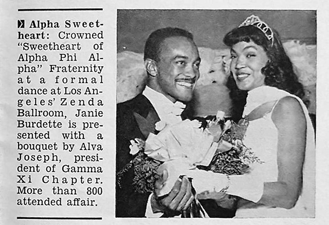 Janie Burdette is Crowned Sweetheart of Alpha Phi Alpha Fraternity Gamma XI Chapter - Jet Magazine, January 10, 1957