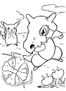 kleurplaat pikachu cubone a page for a coloring