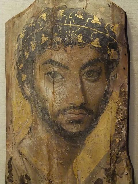 Mummy Portrait Encaustic on Wood Fayum Egypt Roman Period 2nd Century CE