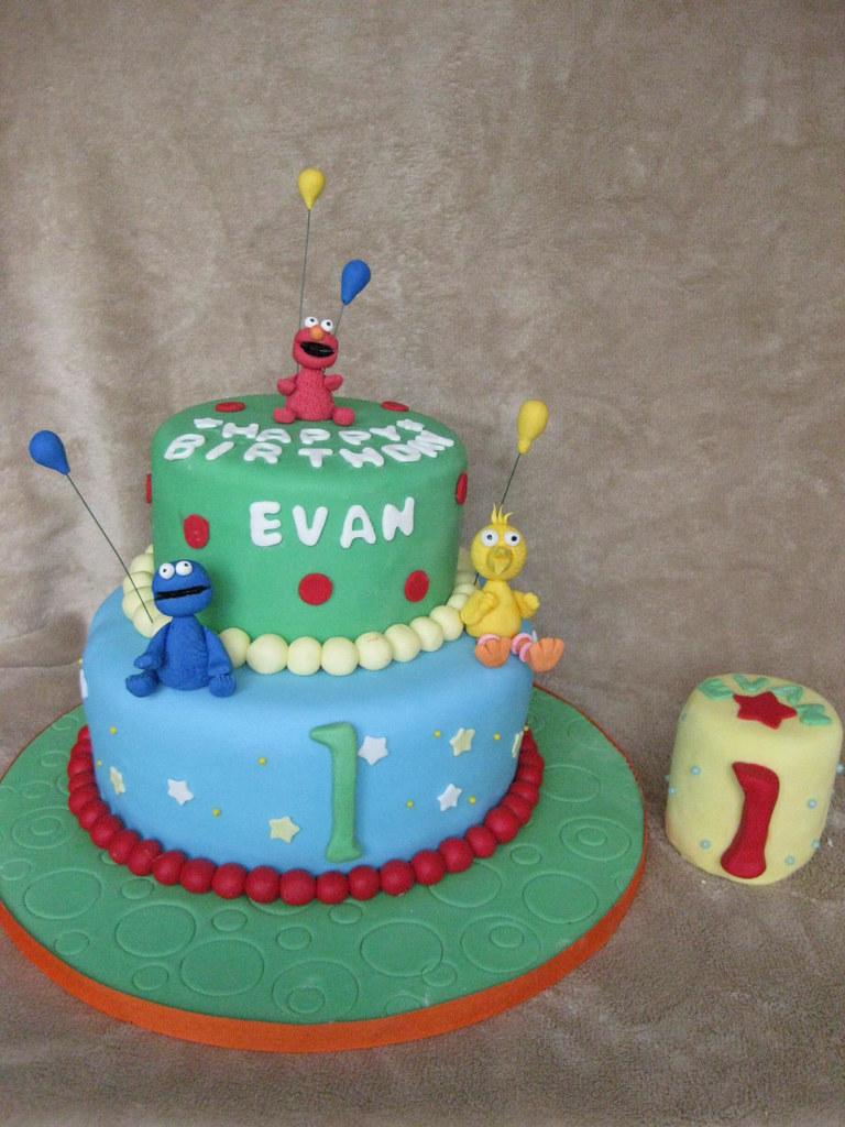 Incredible Sesame Street 1St Birthday Cake For Boy Customcakesby Flickr Funny Birthday Cards Online Alyptdamsfinfo