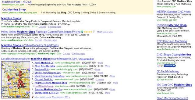 Machine Shops Search | non-local queries in Google now displ