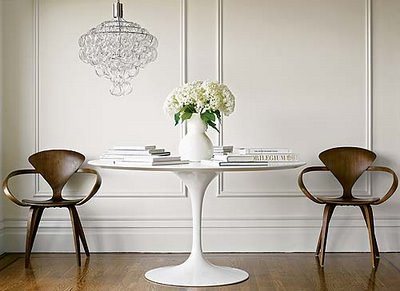 ... White + Wood: Saarinen Tulip Table + Mid Century Modern Norman Cherner  Chairs |