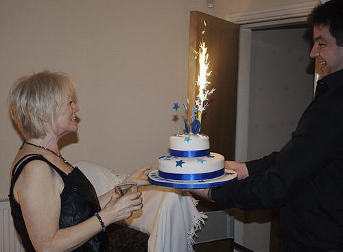 Astounding Celebratory Cake With Big Birthday Cake Sparkler Skyli Flickr Funny Birthday Cards Online Elaedamsfinfo