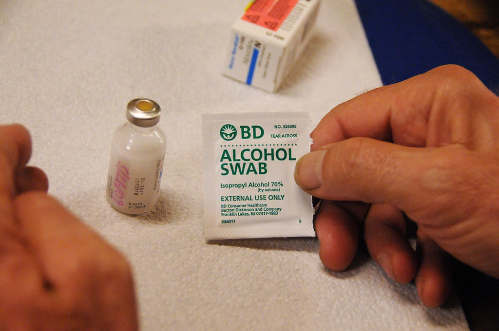Alcohol wipe and the insulin vial