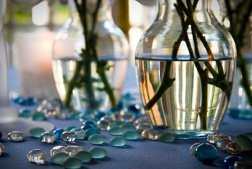 Wedding Details - The Wedding Reception Tables in Beautiful Blue  - Del Ray Beach Florida Professional Wedding Photographers - Curtis Copeland