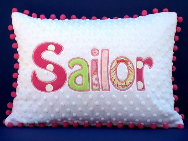 Personalized Applique Minky Chenille Pillow