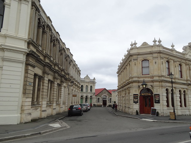 Oamaru. The start of Harbour Street and the Victorian harbour warehouse precinct.  Built 1870s and 1880s and preserved as a streetscape intact with no modern developments.