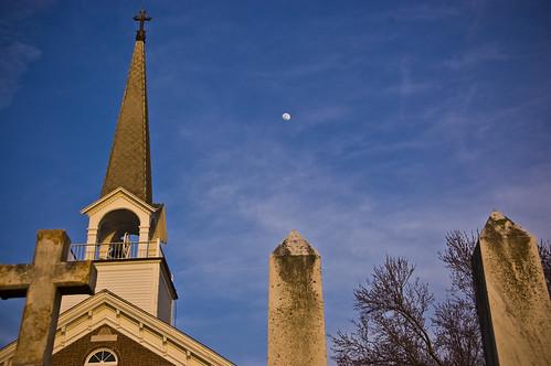 sunset church cemetary chapelpoint