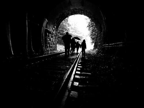 railroad bw rain umbrella geotagged massachusetts traintracks tracks tunnel berkshires mosca hoosactunnel professorbop absoluteblackandwhite olympuse310 geo:lat=42669941 geo:lon=72993164