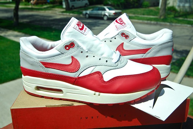 discount get cheap on feet shots of 1997 Air Max 1 Leather SC | White/ Varsity Red | dishwab ...