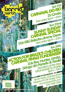 party flyer for carnaval fundraiser party at barrio north, N1 | by Abelha Cachaça