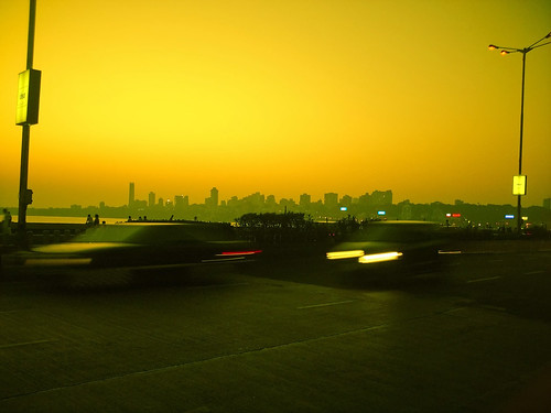 cameraphone sunset sea people orange india water colors car yellow skyline photoshop evening twilight traffic maharashtra mumbai marinedrive girgaum imobile902