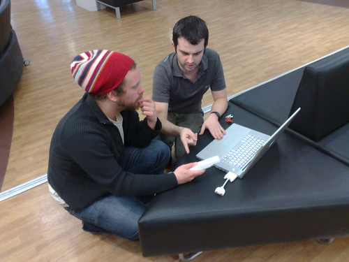 Dave + Richard fettling with MBP + WiiMote | by FriiSpray