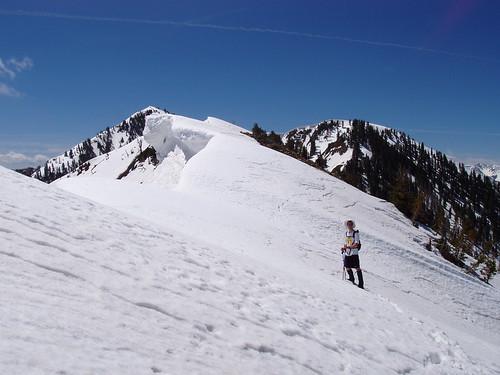 Me on the Spanish Fork Peak summit ridge with large cornices on the left.