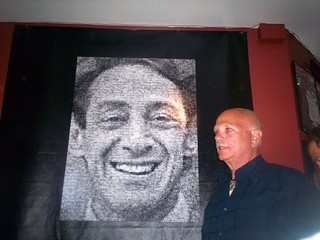 Photomosaic of Harvey Milk and host, Lookout owner Larry Bennett
