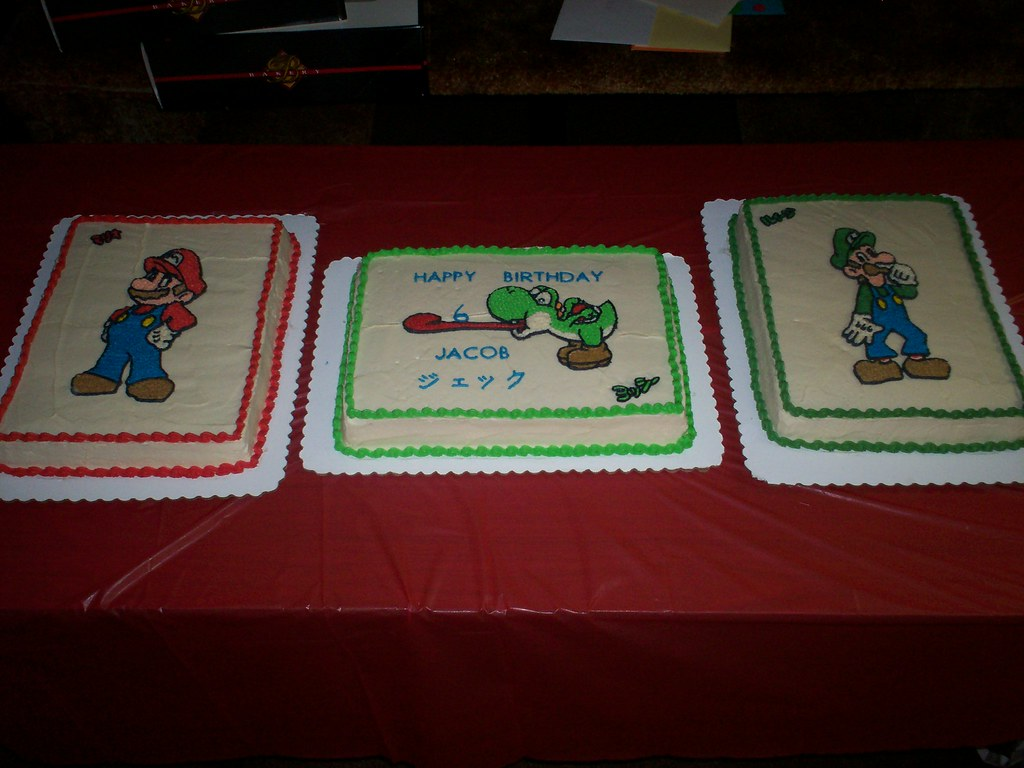 Prime Super Mario Luigi Yoshi Birthday Cake My Kids Test My C Flickr Funny Birthday Cards Online Necthendildamsfinfo