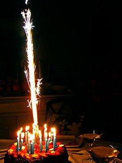 Big Birthday Cake Sparklers And Candles