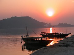 Sunset at Brahmaputra, Guwahati   by amalakar
