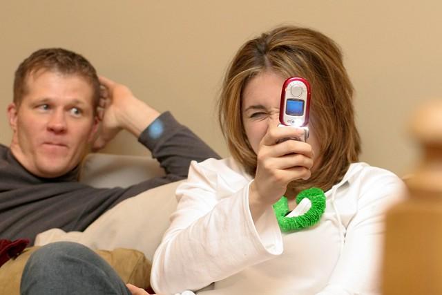 watching the camera phone