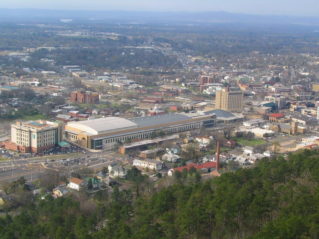 Hot Springs Convention Center and Summit Arena from Hot Springs Mountain Tower, Hot Springs National Park, Arkansas
