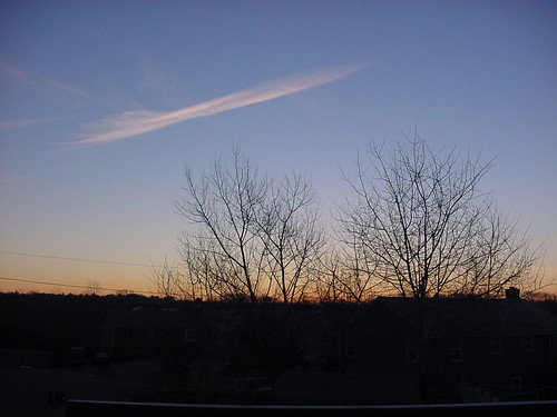 blue trees houses winter sky orange cloud black sunrise dawn suburban massachusetts neighborhood suburbs seekonk