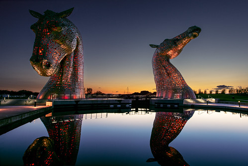 sunset horse reflection statue canon scotland bluesky bluehour falkirk 17mm 1735 kelpies platinumheartaward grantmorris 5d3 grantmorrisphotography
