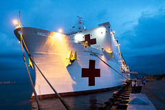 USNS Mercy (T-AH 19) sits along the pier at Subic Bay during Pacific Partnership. (U.S. Navy/MCC Christopher E. Tucker)