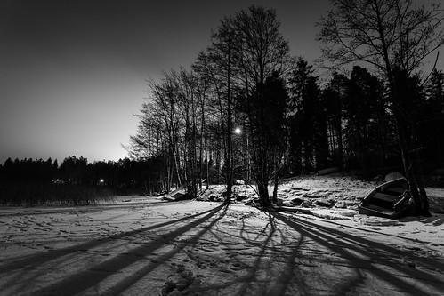 bw blackandwhite boat dark forest ice järvi jää lake landscape longexposure lowlight lumi metsä monochrome night nightscape outdoor pitkäjärvi shadow snow talvi varjo vene winter yö espoo uusimaa finland