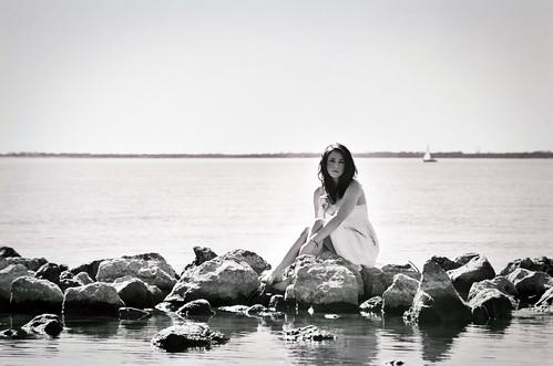 sea portrait blackandwhite bw lake film water girl sailboat rocks magical rockwall whitedress katyeskillman