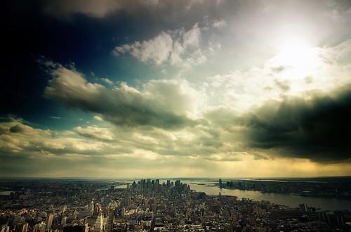 nyc newyorkcity cloud sun newyork skyline geotagged newjersey jerseycity cityscape view esb empirestatebuilding empirestate mudpig stevekelley