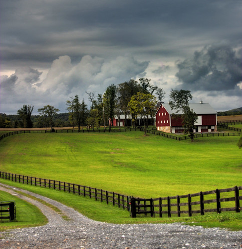 storm grass clouds barn fence md farm maryland driveway dickerson hdr aplusphoto