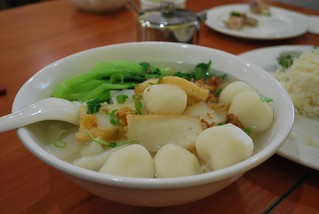 Fish Ball Hor Fun Rice Noodle Soup Salt-Baked Chicken Rice - Hakka Teahouse, Glen Waverley AUD9 lunch special | by avlxyz