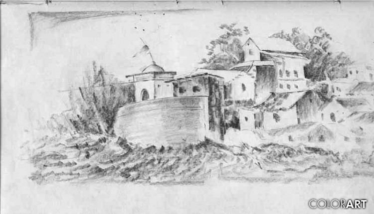 Indian Village Pencil Sketch Sketches By Indian Artist V Flickr Pencil illustration of a tree house village concept on a single tree. https www flickr com photos 55329398 n00 3295596896