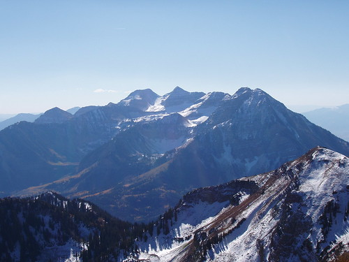 The east side of Mount Timpanogos as seen from the summit of Box Elder Peak.