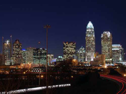 city urban building tower skyline night skyscraper evening nc downtown cityscape charlotte dusk central northcarolina center queen uptown freeway highrise cbd independence qc blvd clt 61909ngc