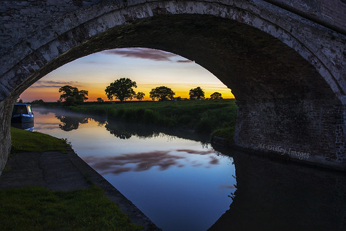 bridge trees sunset england nature water weather reflections landscape outdoors canal