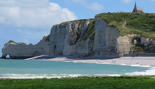 white rock formations on the Alabaster Coast of Normandy, France