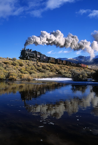 nevadanoryhern nn nnry steam 280 93 steptoecreek reflection eastely nevada water smoke steamlocomotive train railroad locomotive freighttrain nv
