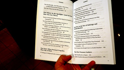 Table of Contents 2, Perfect Phrases for Dealing with Difficult Situations at Work, a guide to being a weaselling corporate snake, bookstore, City Airport, London, UK   by gruntzooki