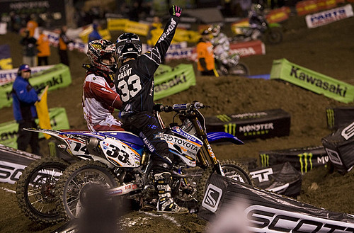 Josh Grant and Keven Windham talking after Josh's first SX class win