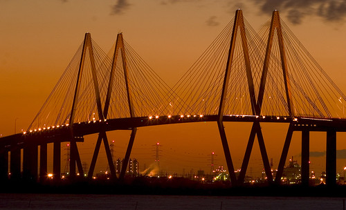 sunset night baytown tx bridges clear fredhartmanbridge houstonshipchannel