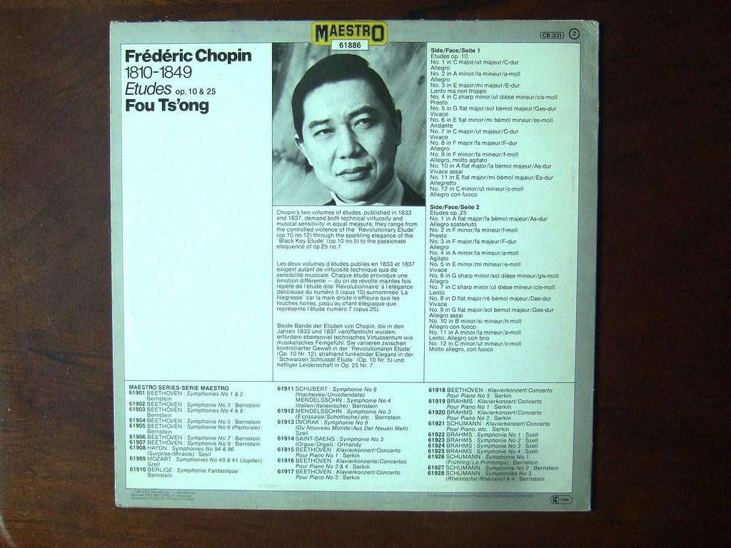 Backside Chopin - Etudes op 10 & op 25 - Fou Ts'ong Piano