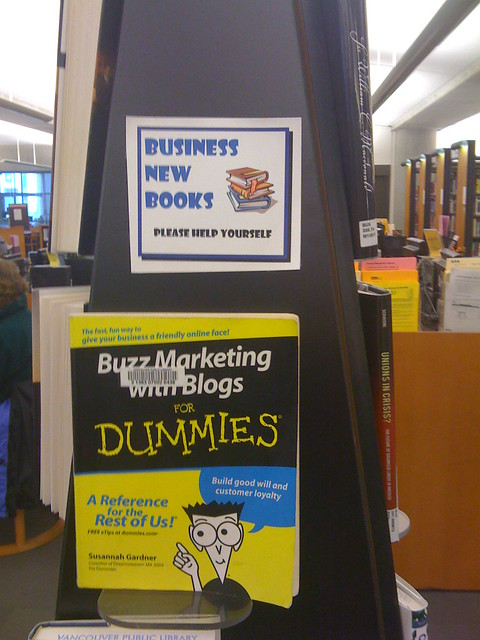 Buzz Marketing with Blogs featured in the Vancouver Public Library's Business New Books section