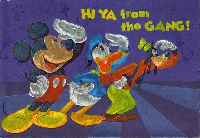 Shiny Mickey, Donald & Goofy Postcard