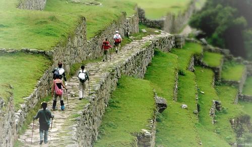 Machu Picchu path, backpackers   by TheFutureIsUnwritten
