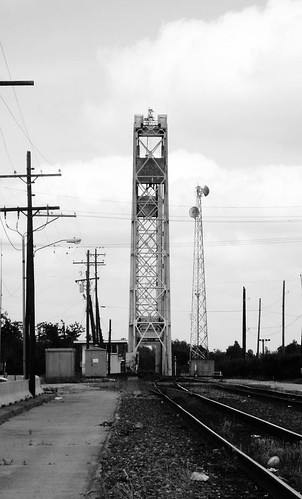 riverfront park beaumont jefferson county texas structural steel railroad bridge railway train locomotive lift through truss neches river black white blackandwhite blackwhite bw b w movable moving draw drawbridge pontist united states north america
