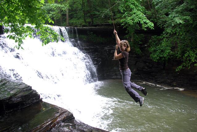 Susan on the Rope Swing at Window Cliffs Falls, Putnam Co, TN