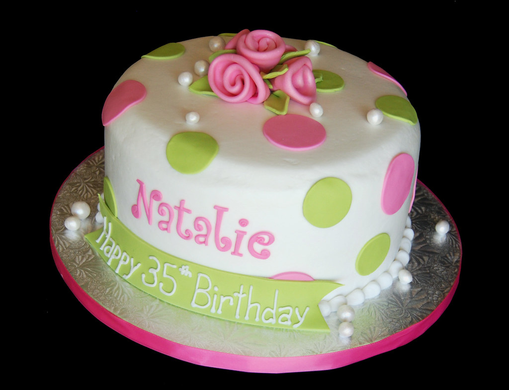 Incredible Pink And Green Polka Dot Birthday Cake With Ribbon Roses A Flickr Funny Birthday Cards Online Alyptdamsfinfo